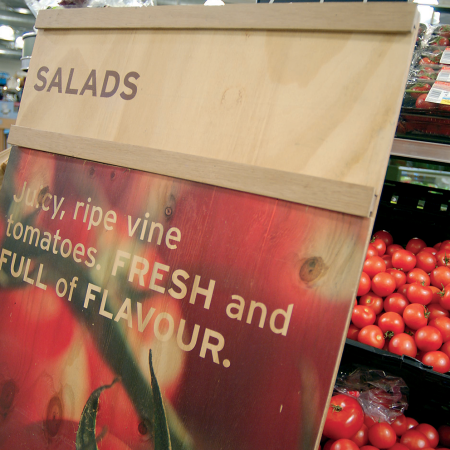 Sainsbury's Instore Graphics tomato salads wood print