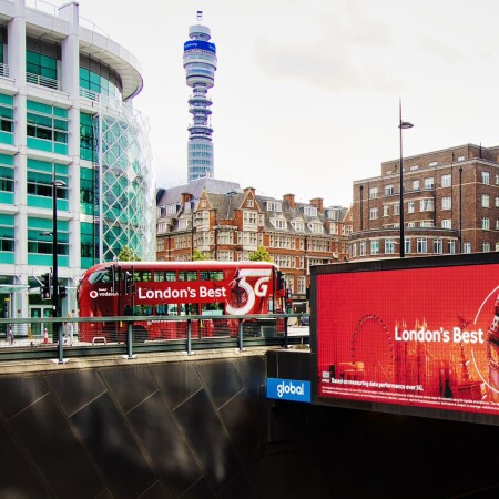 London's Best 5G bus and billboard