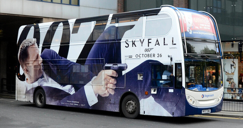 Skyfall Launch Bus Wrap