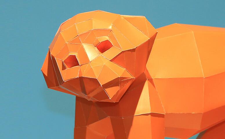 3D Cardboard Engineering orange monkey