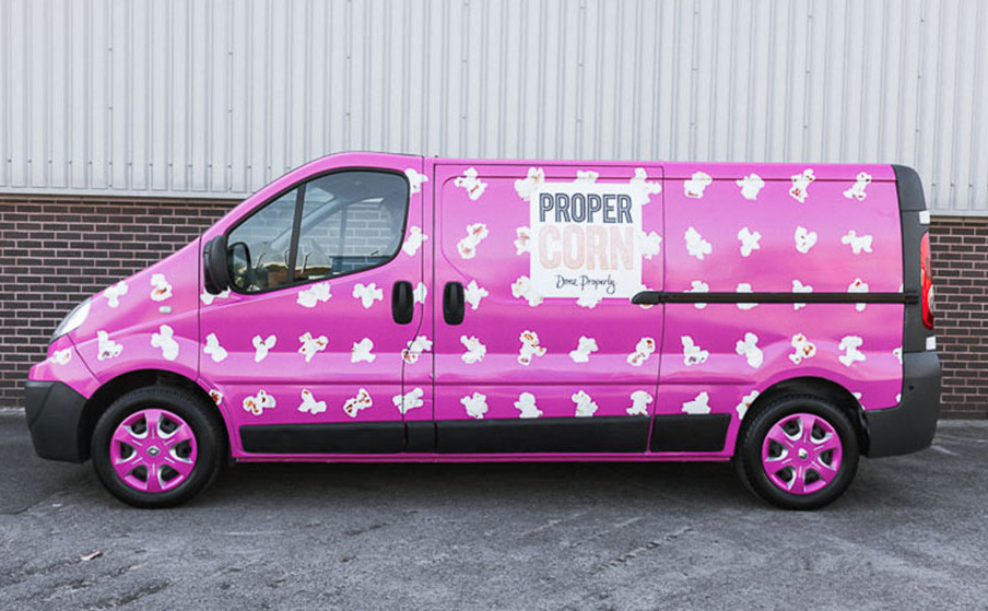Propercorn Van Fleet Wraps van from passenger side