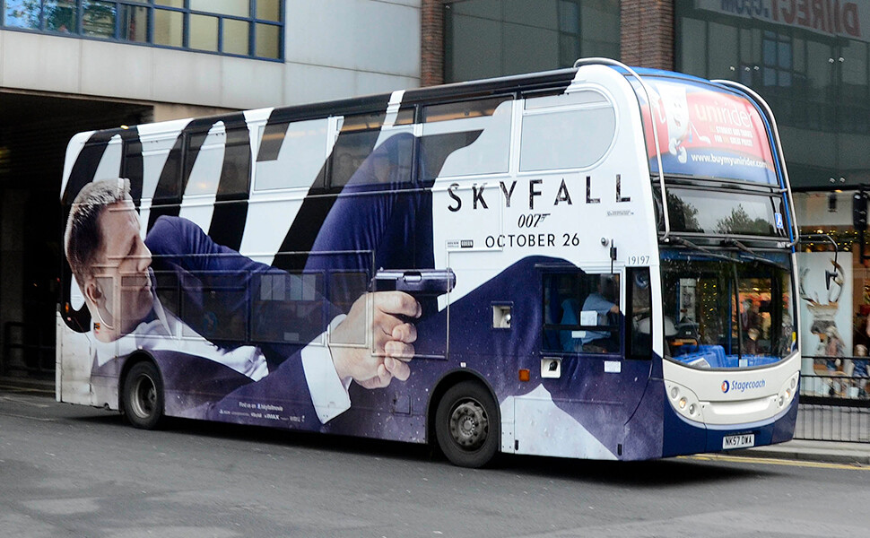 Skyfall Launch Bus Wrap installed