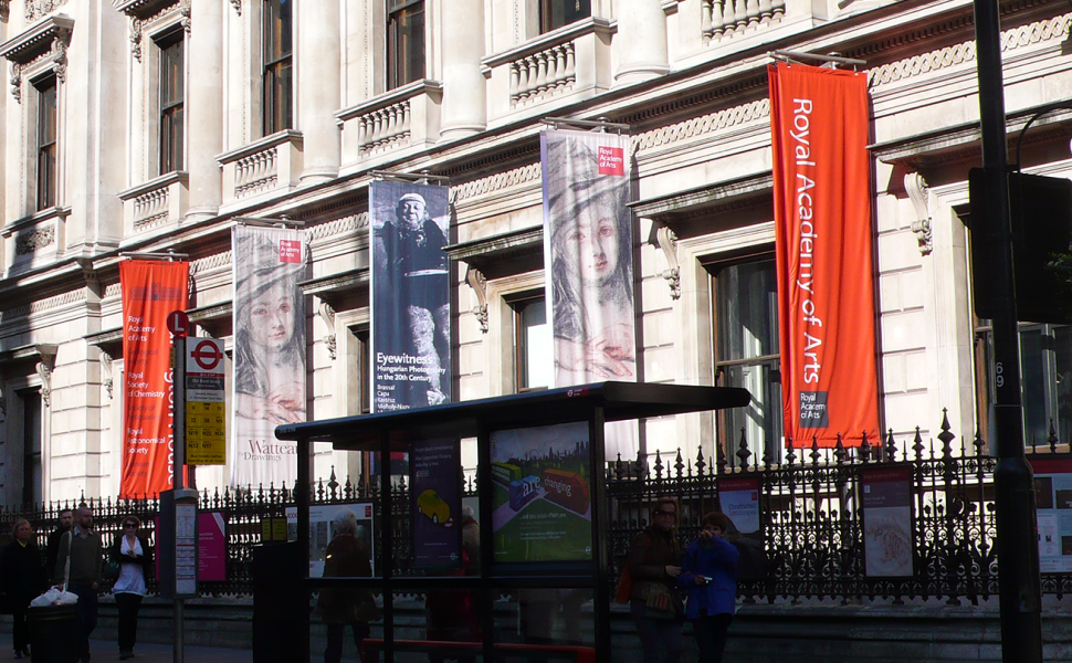 Royal Academy of Arts Fabric Banners installation