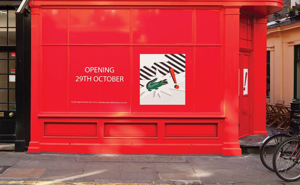 Lacoste Window Display, red hoarding with crocodile logo